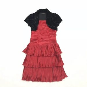 My Michelle Size 10 Red Tiered Dress Velvet Jacket